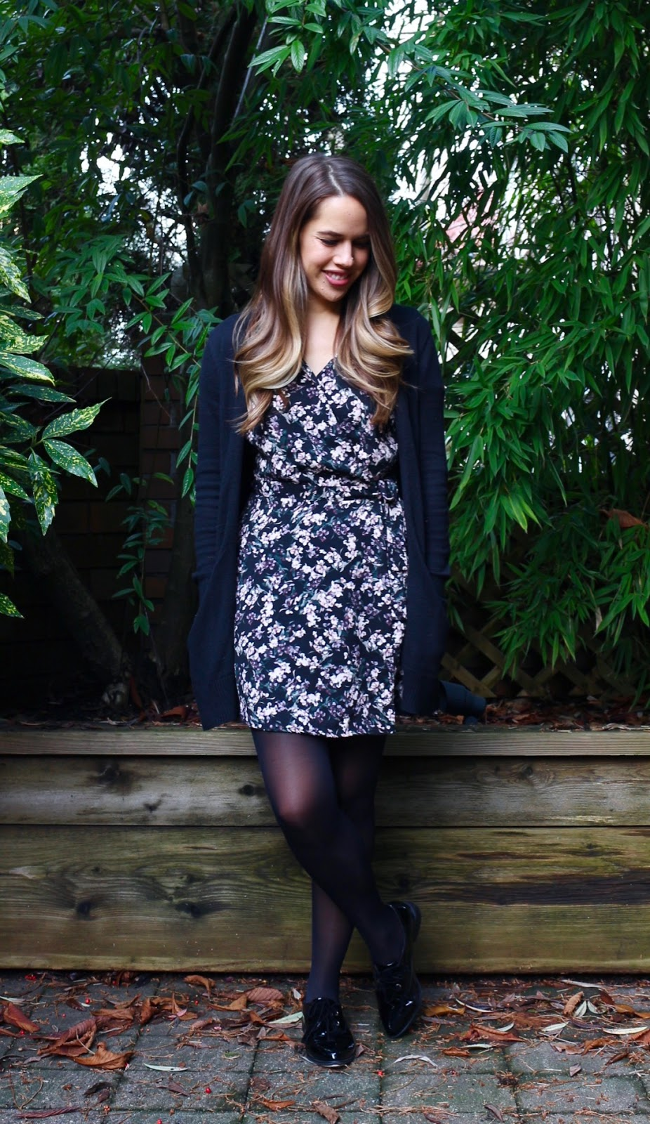 Jules in Flats - Wrap Dress with Long Line Cardigan (Business Casual Winter Workwear on a Budget)