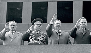 Soviet leaders review a Victory Day parade, circa 1960s