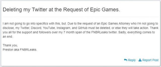 Fortnite Leakster FNBRLeaks Forced to Close Down by Epic Games