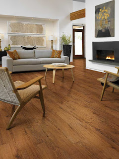 This wood-like resilient floor is beautiful requires easy maintenance
