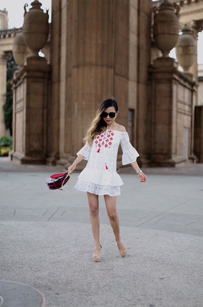shein embroidered tassel off shoulder dress, eyelet off shoulder dress, tassel dress, nordstrom anniversary sale purchases, karen walker super duper sunglasses, tory burch wedge sandals, kendra scott earrings, hermes bracelet, san francisco street style, san francisco palace of fine arts