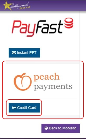 Select Peach Payments - Click Credit Card - Hollywoodbets Mobisite - Deposit