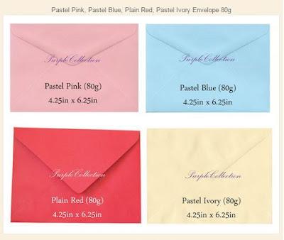 Envelope 80g, colour choices, plain pink, pastel blue, red, ivory, beige, white, kuala lumpur, selangor, malaysia, buy envelope online, purchase, johor bahru, singapore