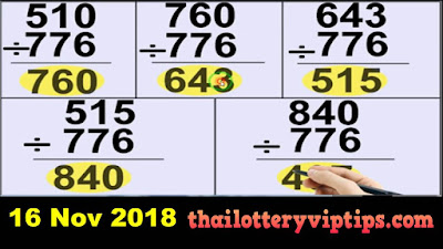 Thai Lottery 3up single digit set wining Formula 16 November 2018