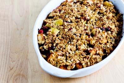 Low-Sugar and Gluten-Free Cranberry Apple Crisp [found on KalynsKitchen.com]