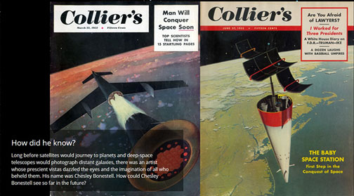 Examples of Chesley Bonestell's magazine cover art from the 1950's (Source: www.chesleybonestell.com)