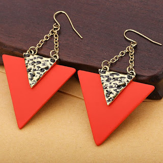 Engraved Metal Triangle Pendant Hook Earrings - Red