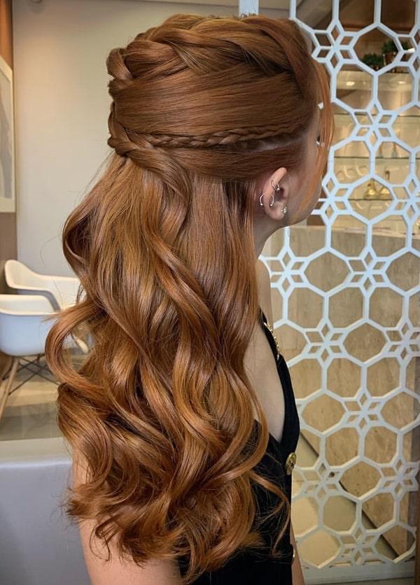 penteado de festa semi preso com trança