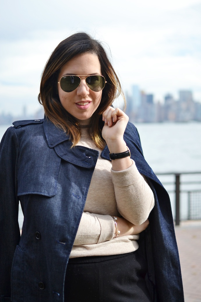 Ann Taylor trench coat and flannel ankle trousers Vancouver fashion blogger New York City