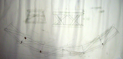 Paper sketch template on newsprint for a wood trestle deck and supports