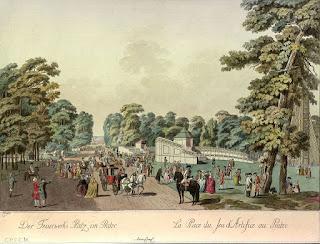 Johann Andreas Ziegler (1749-1802) - La Plaza de los fuegos artificiales en el Prater, cobre coloreado grabado por Ziegler alrededor de 1783.