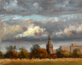 Oil painting of dark cumulus clouds over distant buildings and trees.