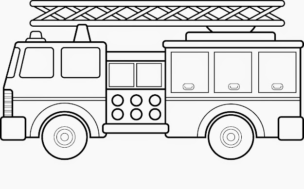 Fire Engine Coloring Page For Kids With Truck To Print