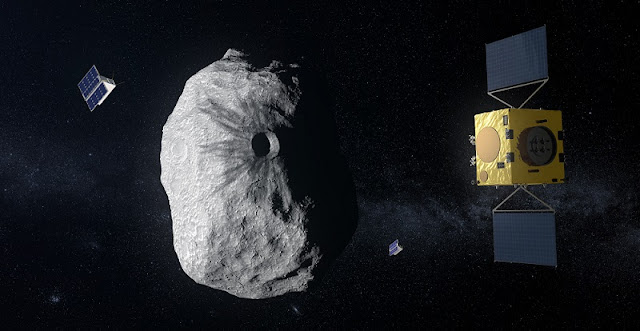 ESA's Hera mission concept, currently under study, would be humanity's first mission to a binary asteroid: the 780 m-diameter Didymos is accompanied by a 160 m-diameter secondary body. Hera will study the aftermath of the impact caused by the NASA spacecraft DART on the smaller body. Credit: ESA–ScienceOffice.org