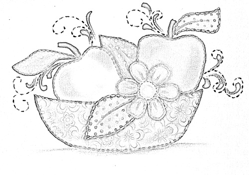 pintura em tecido pano de prato flores e frutas risco