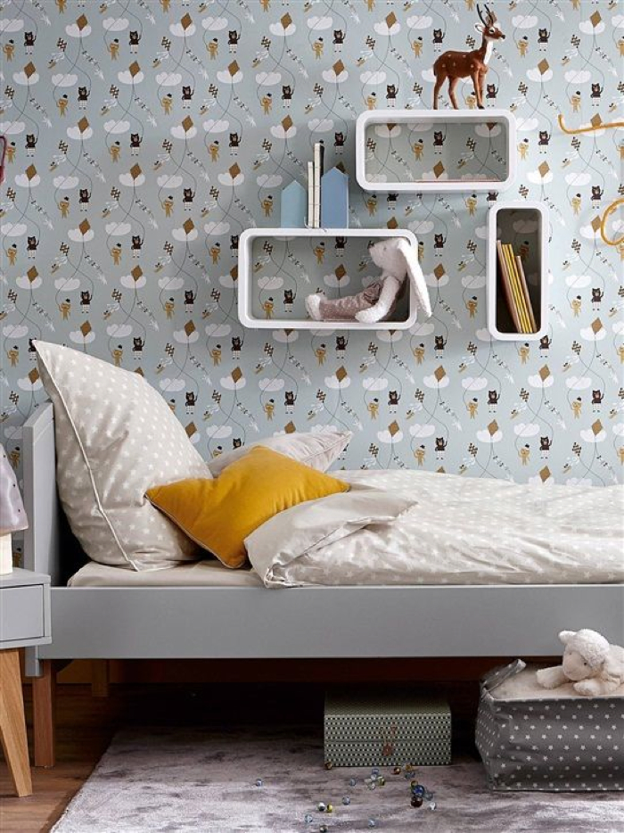 kate ferm living wallpaer in teener room