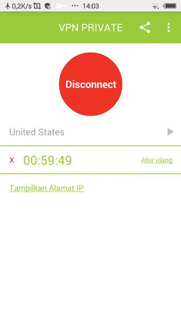 """Tunggu beberapa saat. Maka nanti akan muncul tulisan """"Disconnect"""". Itu artinya VPN telah berhasil terhubung dengan smartphone milikmu ke jaringan VPN. - Cara Menggunakan VPN Turbo di Android (Dilengkapi Tutorial Video)"""