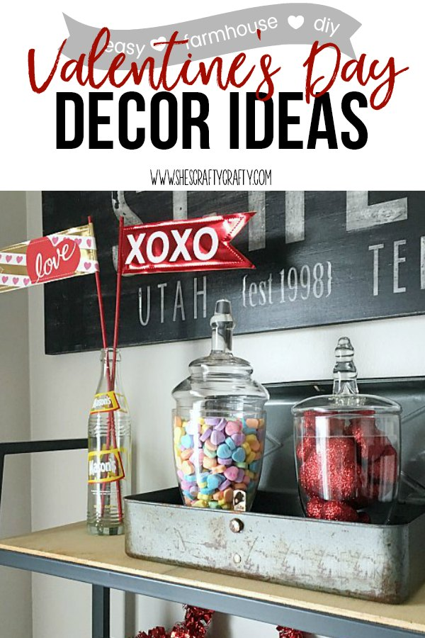 Easy Decorating ideas using valentine flags, valentine candy jars, vintage items