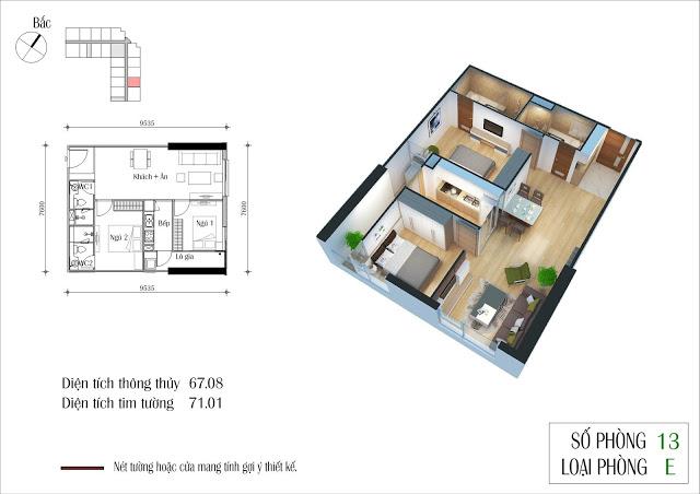 Thiết kế căn 13 tòa CT2 Eco Green City