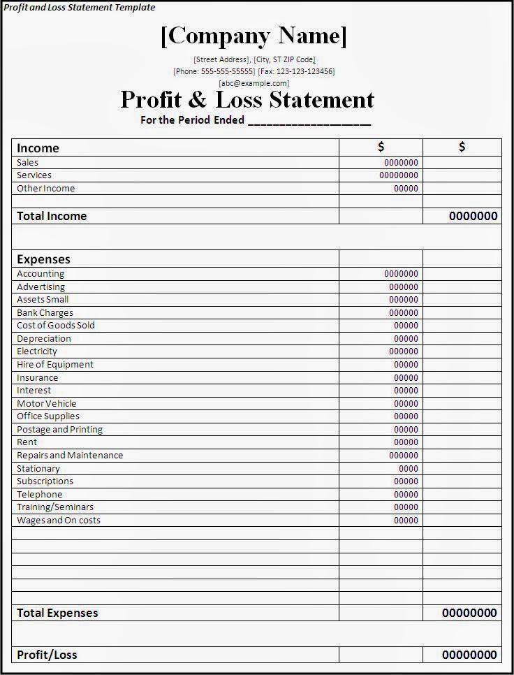 Printables Free Profit And Loss Worksheet excel profit and loss worksheet sheet blank income statement template worksheet