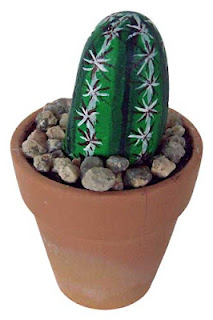 painted rocks, cactus, stone, pot, pebbles