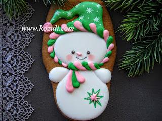 Новогодние пряники / рождественские пряники с глазурью. Пряник Новогодний Снеговик