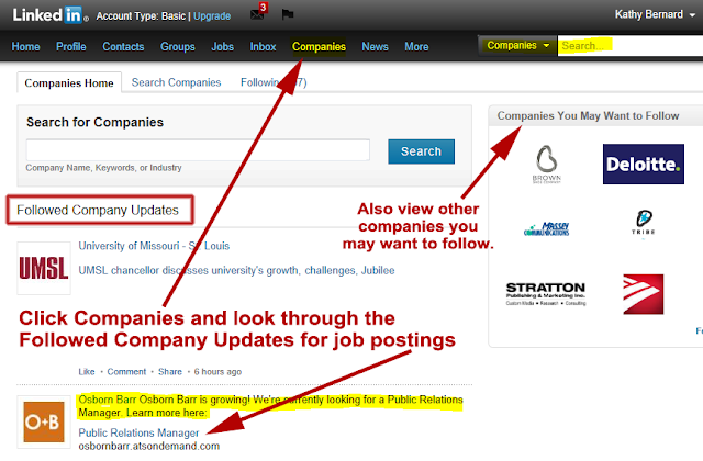 follow companies on LinkedIn, search for companies on LinkedIn,