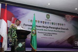 Wagub Sumsel, Resmikan Pembukaan Forum SKPD
