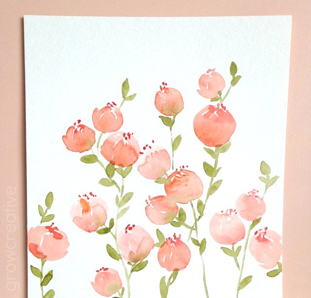 Original Watercolor Peach Floral Painting by Elise Engh