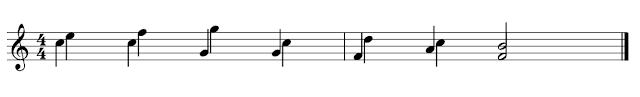 Partitura con dos voces, ambas con las plicas hacia abajo