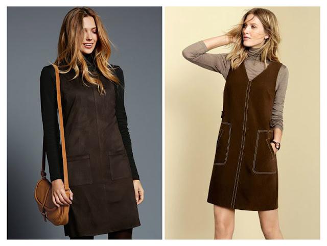 Водолазка с коричневым платьем из замши