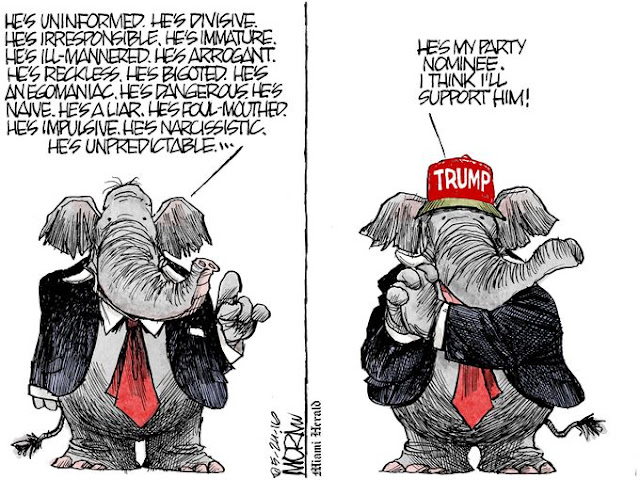 Image One:  Republican Elephant listing objections to Donald Trump (uninformed, divisive, immature, ignorant, etc.).  Image Two:  Republican wearing Trump hat dreamily saying,