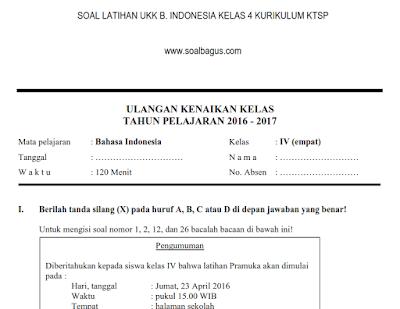 Download soal latihan UKK/ UAS Bindo kls 4 semester 2/ genap ktsp plus kunci jawabannya tahun 2017 www.soalbagus.com