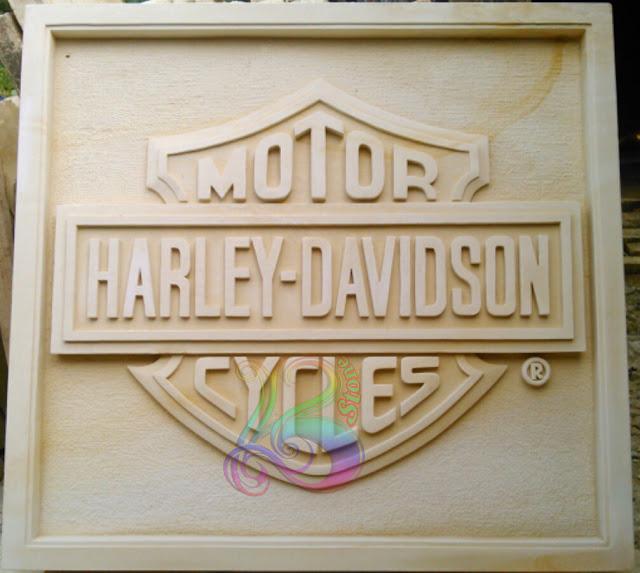 Kerajinan batu alam motif logo harley davidson