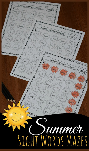 FREE Summer Kindergarten Sight Words Mazes - these free printable sight words worksheets are perfect to help preschool, kindergarten, and first grade kids practice reading. Perfect for summer learning #sightwords #summerlearning #kindergarten