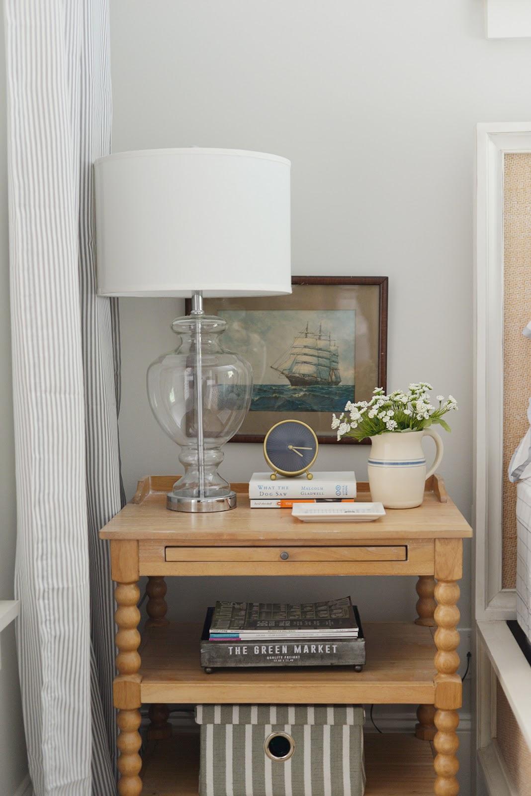 cottage bedroom, spool nightstand, modern country bedroom