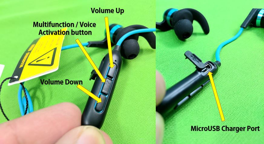 1MORE iBFree Bluetooth In-Ear Headphones with Microphone and Remote (Aqua Blue) ports and buttons