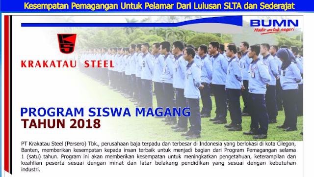 http://www.krakatausteel.com/index.php?page=content&cid=911 Program Magang PT Krakatau Steel bagi Lulusan SMA/SMK