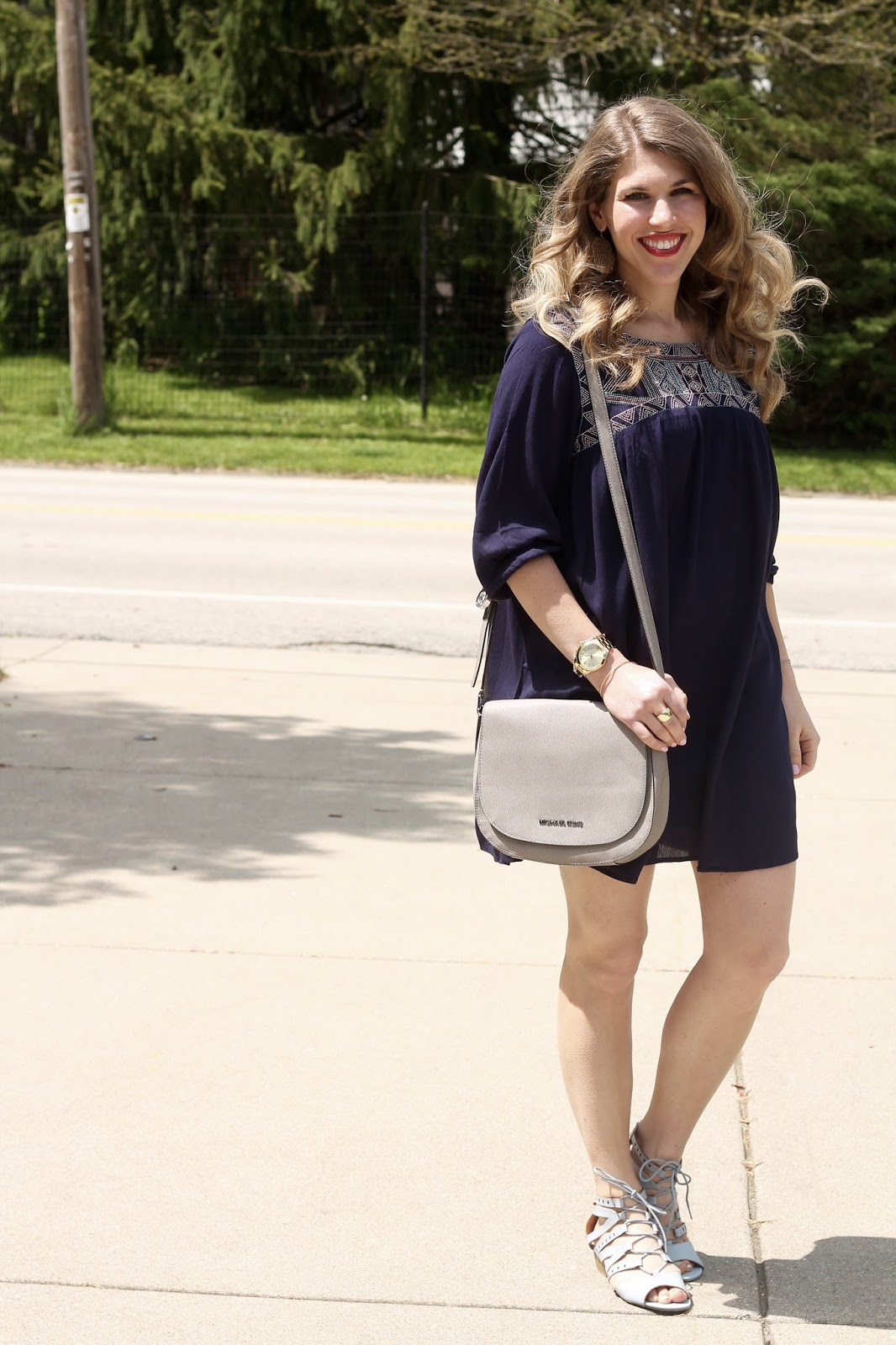 navy embroidered boho spring dress, light blue sandals, serenity, grey saddlebag