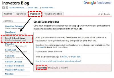 Langkah mengaktifkan Email Subscritions