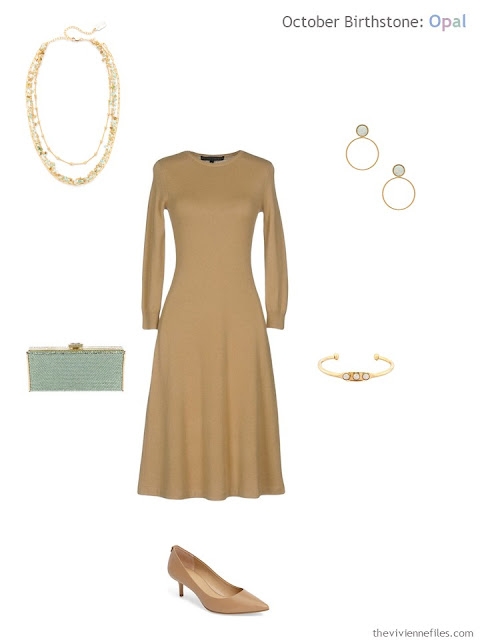 camel dress with green opal jewelry