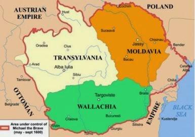 Harta Tarilor Române unite de Mihai Viteazul la 1600