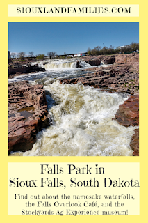 pinterest friendly graphic about Falls Park in Sioux Falls, South Dakota