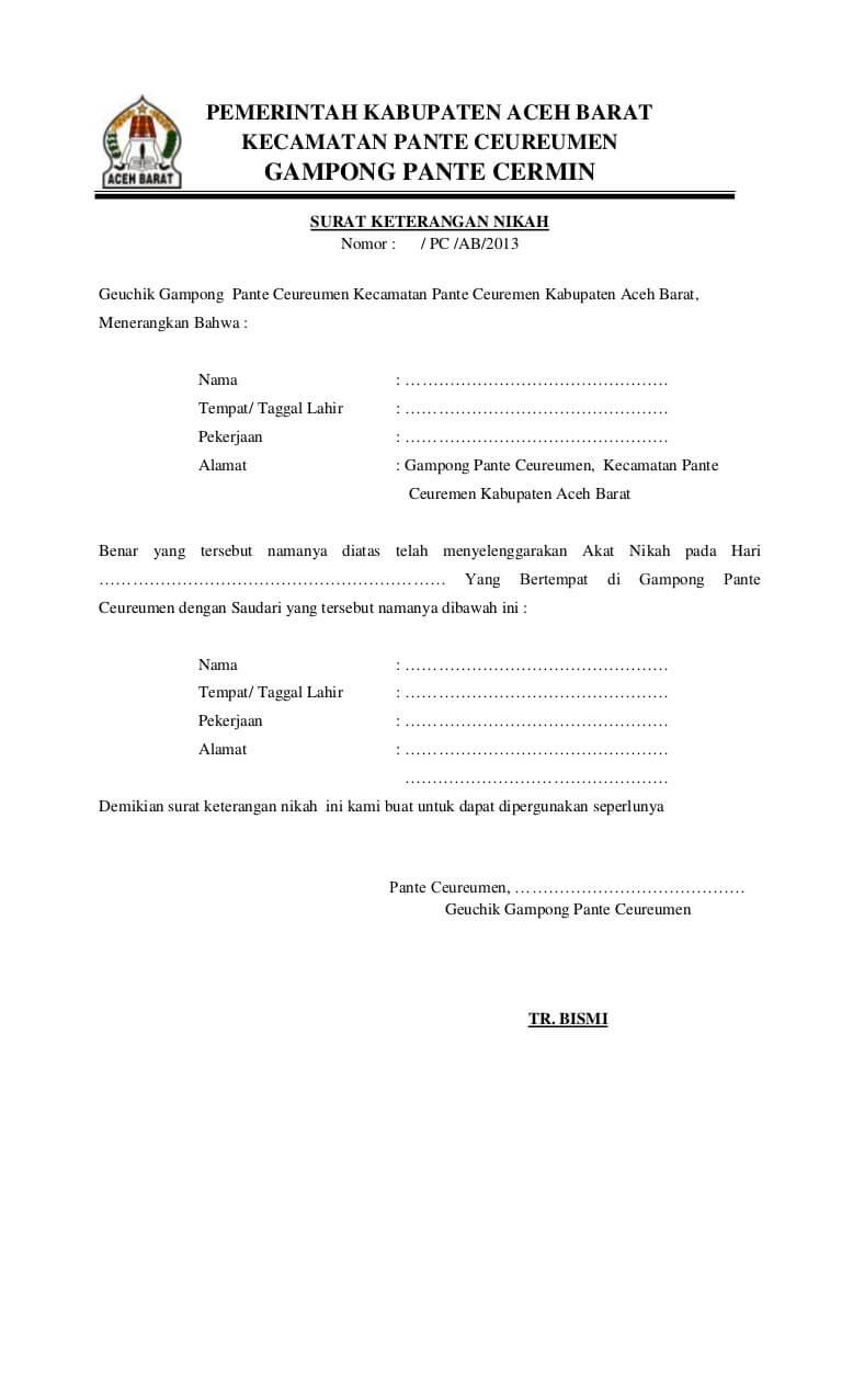 contoh surat keterangan nikah dari kepala desa