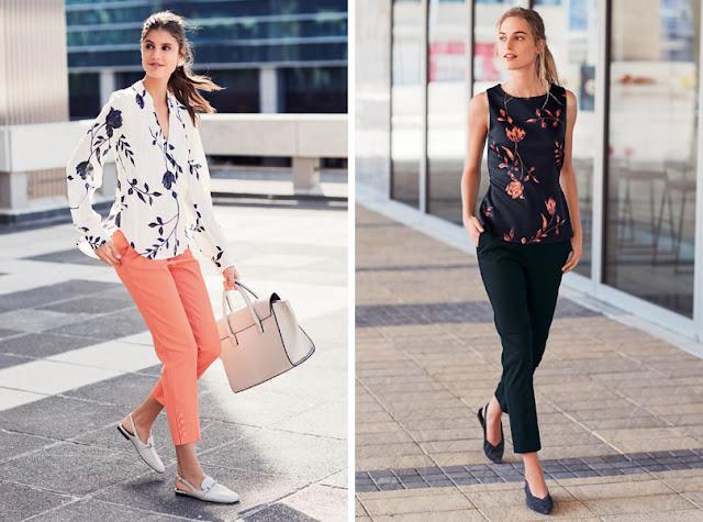 Девушки в блузках с цветочным принтом на светлом и на темном фоне