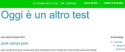 Come modificare il messaggio della cookie law su blogger