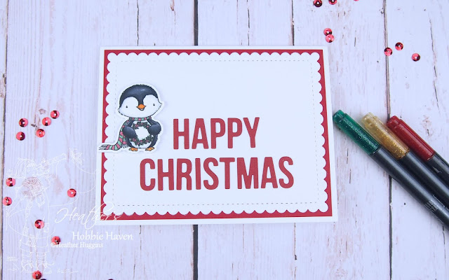 Heather's Hobbie Haven - Sweet Holiday Penguins - Happy Christmas Card