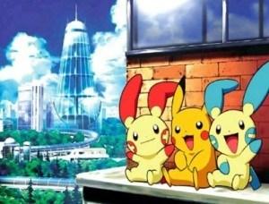 Pikachu con Plusle y Minum