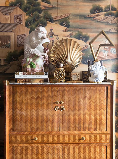 An inlaid-wood secretary and the hand-painted wallpaper | Alex Papachristidis's Manhattan apartment