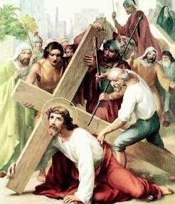Dibujo de Jesus cayendo al suelo